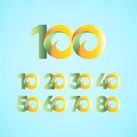 100 jaar jubileumvieringen geel groen vector sjabloon ontwerp illustratie