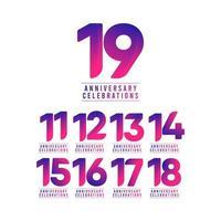 19 jaar jubileumvieringen vector sjabloonontwerp illustratie