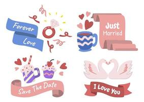 valentijn label vector logo set