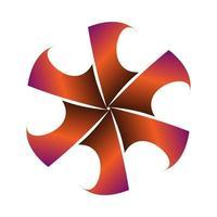 symmetrie cirkelvormig stersymbool verpakt in oranje paars