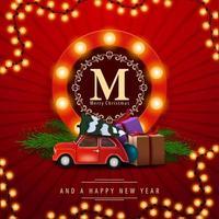 prettige kerstdagen en een gelukkig nieuwjaar, rode vierkante ansichtkaart met kerstboom van de antieke auto. wenskaart met rond logo met bollen