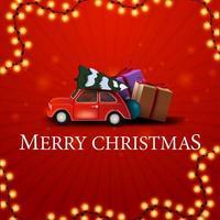 vrolijk kerstfeest, rode vierkante ansichtkaart met rode vintage auto met kerstboom