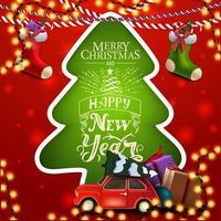 prettige kerstdagen en een gelukkig nieuwjaar, rode en groene vierkante wenskaart met kerstboom