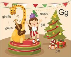 alfabet g brief giraf, gitaar, meisje, druif, cadeau.