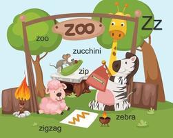 alfabet z brief, dierentuin, zip, zebra, zigzag, courgette