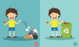 gooi geen rommel op de vloer, verkeerde en juiste vectorillustratie