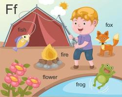 alfabet f brief vis, draad, bloem, kikker, vos.
