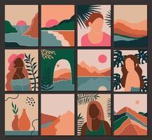 stel eigentijds landschap vrouwelijk en bladeren in boho-stijl vector