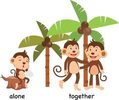 tegenovergestelde alleen en samen vector illustratie