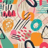 hand getekend verschillende vormen en bladeren, vlekken, stippen en lijnen. verschillende kleuren. abstract eigentijds naadloos patroon. moderne patchwork illustratie in vector