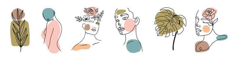 verschillende gezichten, bladeren en lichaam, abstracte vormen