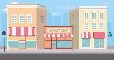 flatgebouw en winkelstraat gemarkeerd met verkeersbord op voetpad. stadsgezicht op de hoofdstraat. winkel gevel op weg met silhouet stad achtergrond. moderne winkelgebouwen. vector