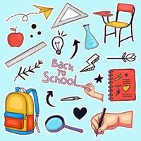 kleurrijke hand terug naar school stickers collectie getekend vector