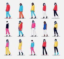 verzameling van mensen karakter illustratie foto pose doen vector