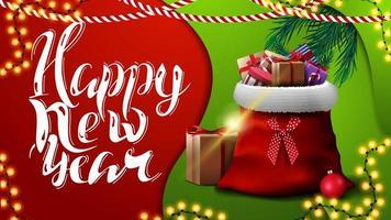 gelukkig nieuwjaar, rode en groene wenskaart in materiaalontwerpstijl met slingers en kerstmanzak met cadeautjes