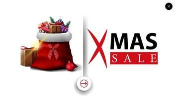 kerstuitverkoop, witte kortingsbanner in minimalistische stijl voor website met kerstman-tas met cadeautjes