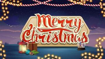 vrolijk kerstfeest, blauw en violet ansichtkaart met antieke lamp, cadeau, sneeuwbol en slinger vector