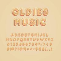 oldies muziek vintage 3D-vector alfabet set