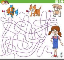 educatief doolhofspel met cartoon meisje en huisdieren vector