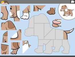 puzzel spel met schattige puppy karakter vector