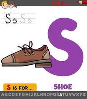 letter s werkblad met cartoon schoen vector