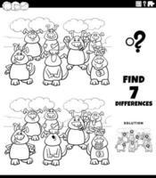 verschillen educatieve taak met honden kleurenboekpagina