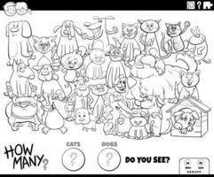 het tellen van honden en katten educatieve spel kleurenboekpagina vector