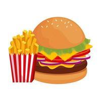 heerlijke hamburger met frietjes fastfood pictogram vector