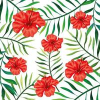 achtergrond van bloemen van rode kleur met takken en bladeren vector