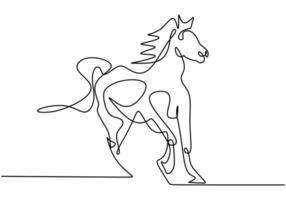 een enkele lijntekening van de identiteit van het bedrijfslogo van het elegantie paard. lopend paard. pony paard zoogdier dier symbool concept. continu een regel enkele. vector