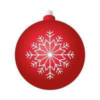 vrolijk kerstfeest rode bal decoratie met witte sneeuwvlok vector