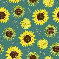 naadloze patroon met zonbloemen. schattige hand getekend cartoon kinderlijke tekenstijl. kleurrijke achtergrond met inkt textuur vectorillustratie, goed voor mode textieldruk. vector