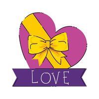 cadeau in hartvorm met geïsoleerde lint pictogram