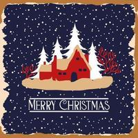 vrolijke kerstkaart met huizen en bomen vector