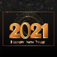 glitter teksteffect voor een gelukkig nieuwjaarsfeest vector