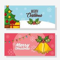 vrolijke kerst banner set met pijnboom vector