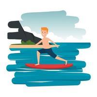 gelukkige atletische jongen die surfen in de zee beoefent vector