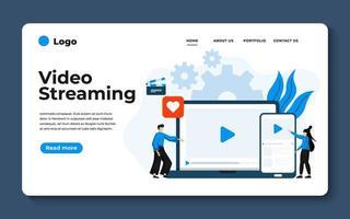 moderne platte ontwerp illustratie van videostreaming. kan worden gebruikt voor website en mobiele website of landingspagina. vector illustratie