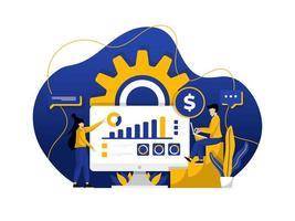 moderne platte ontwerp illustratie van marketinginvesteringen, beheer van middelen, bedrijfsstrategie. kan worden gebruikt voor website en mobiele website of landingspagina. vector illustratie