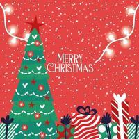 vrolijke kerstkaart met pijnboom en cadeautjes vector