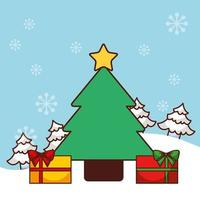 vrolijke kerstkaart met pijnboom vector