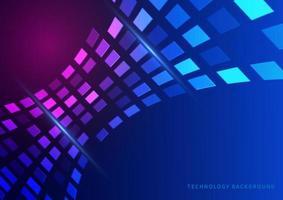 abstract technologieconcept geometrisch vierkant patroon futuristisch perspectief op donkerblauwe achtergrond.