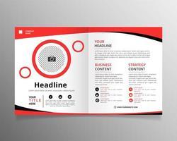 rode en zwarte zakelijke tweevoudige brochure met plat ontwerp