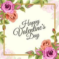 gelukkige valentijnskaartgroeten met illustratie van het bloemornament vector
