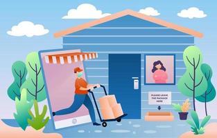 contactloze bezorging van online winkelen vector
