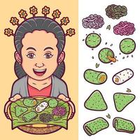 geïsoleerd traditioneel Indonesisch voedsel dat met karakterillustratie wordt geplaatst