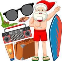 Kerstman stripfiguur in strand zomer element