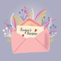 envelop met liefdesbrief. kleurrijke hand getrokken illustratie met hand belettering voor gelukkige Valentijnsdag. wenskaart met bloemen en decoratieve elementen. vector