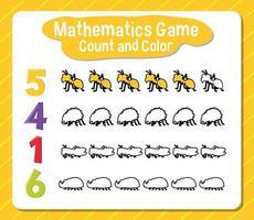 wiskunde spel tellen en kleuren werkblad voor student