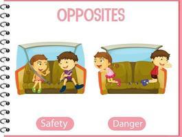 tegengestelde woorden met veiligheid en gevaar vector